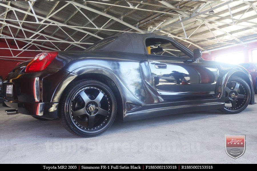 18x8.5 18x9.5 Simmons FR-1 Satin Black on TOYOTA MR2