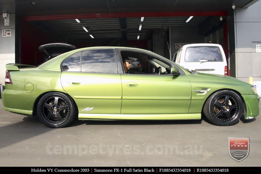 18x8.5 18x9.5 Simmons FR-1 Satin Black on HOLDEN COMMODORE VY