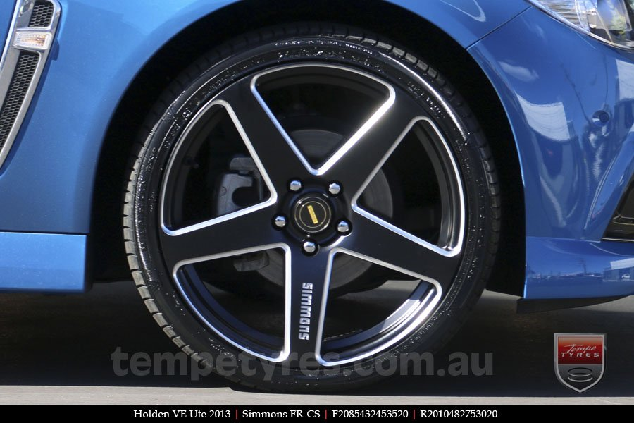 20x8.5 20x10 Simmons FR-CS Satin Black on HOLDEN COMMODORE VE UTE