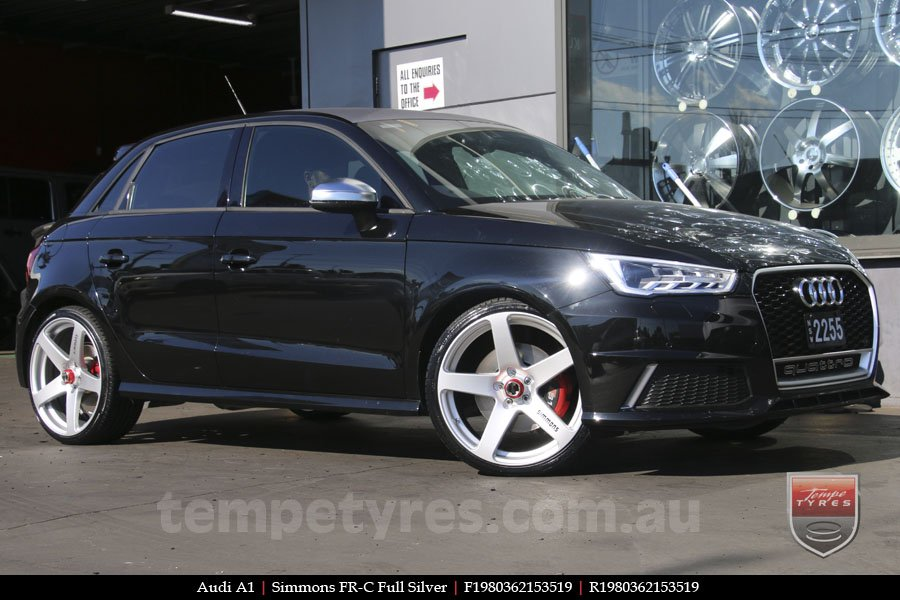 19x8.0 19x9.0 Simmons FR-C Silver on AUDI A1