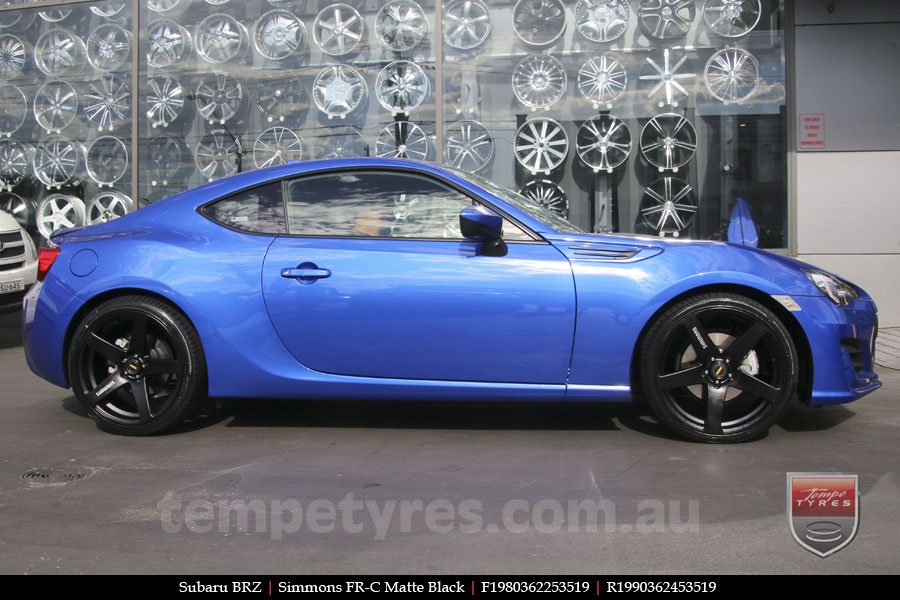19x8.0 19x9.0 Simmons FR-C Matte Black on SUBARU BRZ
