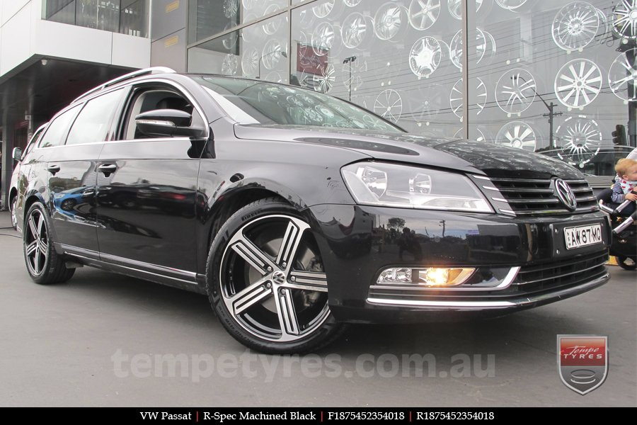 18x7.5 R Spec Machined Black on VW PASSAT