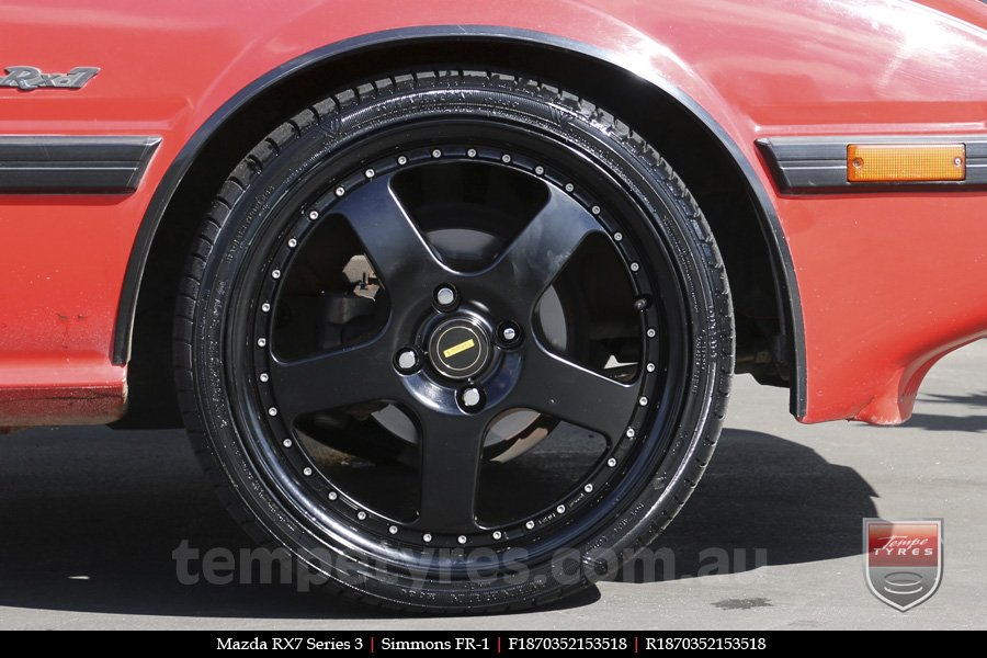 18x7.0 18x8.5 Simmons FR-1 Satin Black on MAZDA RX7