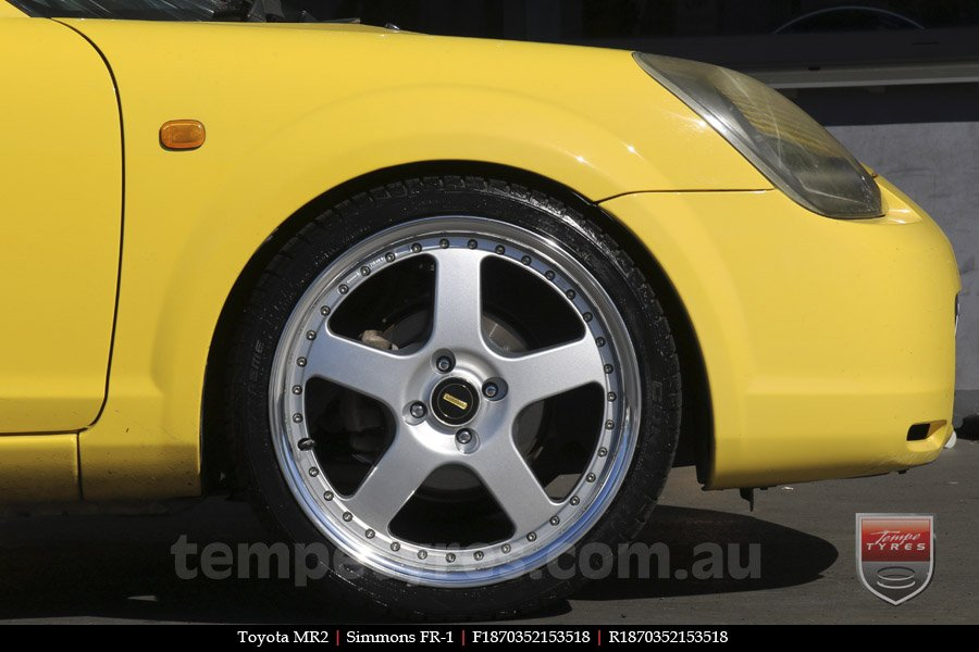 18x7.0 18x8.5 Simmons FR-1 Silver on TOYOTA MR2