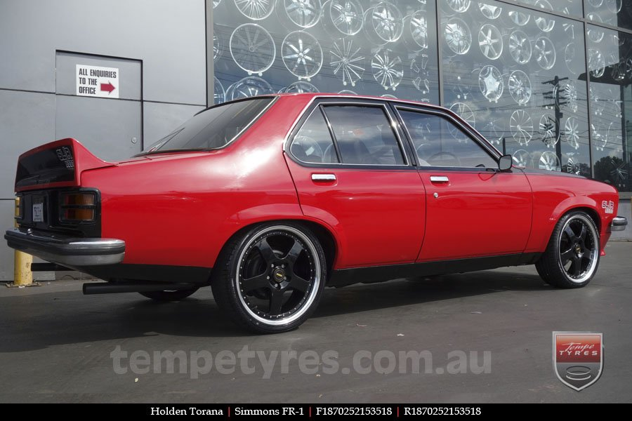 18x7.0 18x8.5 Simmons FR-1 Gloss Black on HOLDEN TORANA