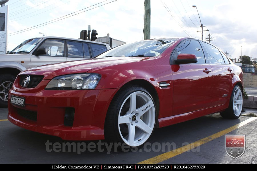 20x8.5 20x10 Simmons FR-C Full White on HOLDEN COMMODORE VE