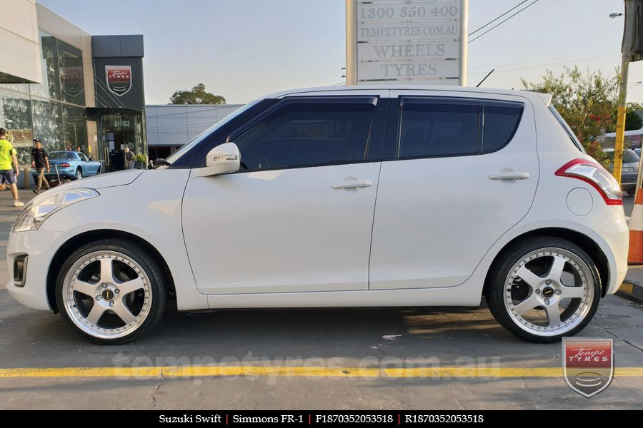 18x7.0 18x8.5 Simmons FR-1 Silver on SUZUKI SWIFT