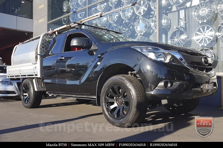 18x9.0 Simmons MAX X09 MBW on MAZDA BT50
