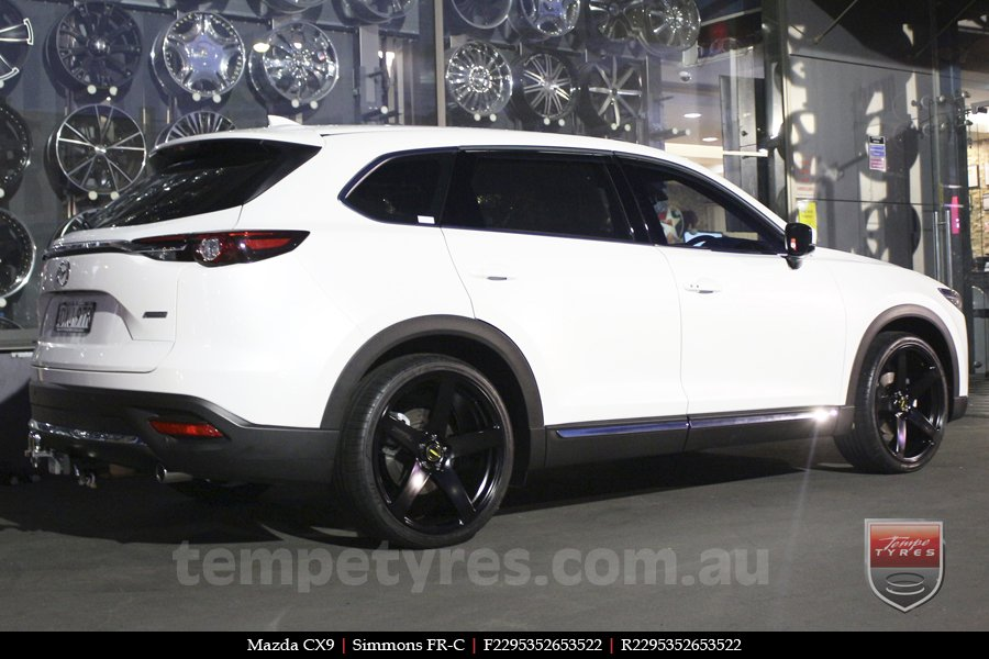 22x9.5 Simmons FR-C Full Satin Black on MAZDA CX9