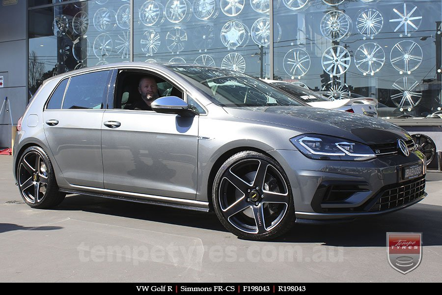 19x8.0 19x9.0 Simmons FR-CS Satin Black on VW GOLF R