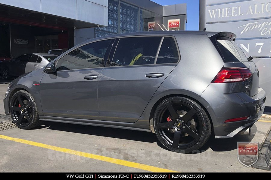 19x8.0 19x9.0 Simmons FR-C Matte Black NCT on VW GOLF GTI