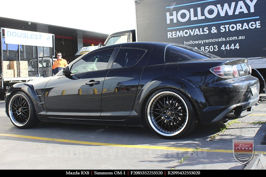 20x8.5 20x9.5 Simmons OM-1 Gloss Black on MAZDA RX8