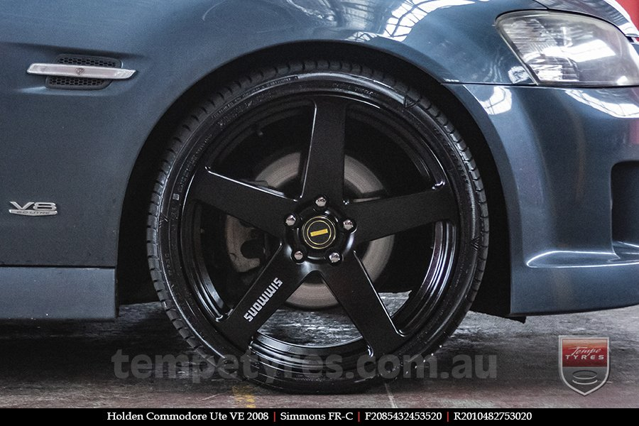 20x8.5 20x10 Simmons FR-C Full Satin Black on HOLDEN COMMODORE VE