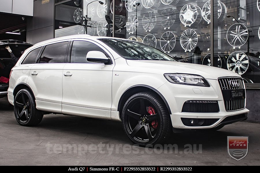 22x9.5 Simmons FR-C Full Satin Black on AUDI Q7
