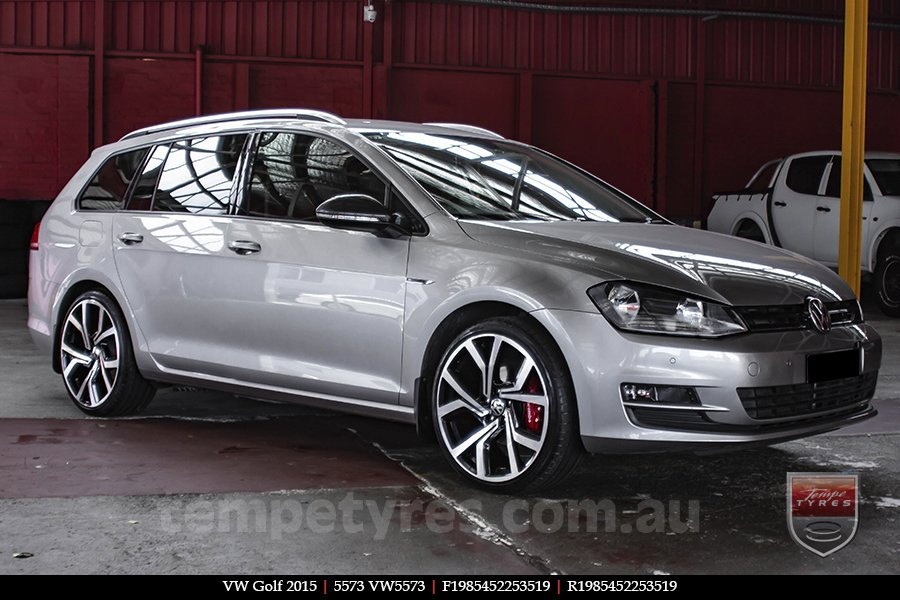 19x8.5 5573 VW5573 Black Machined on VW GOLF