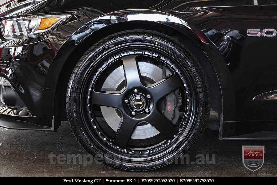 20x8.5 20x9.5 Simmons FR-1 Satin Black on FORD MUSTANG