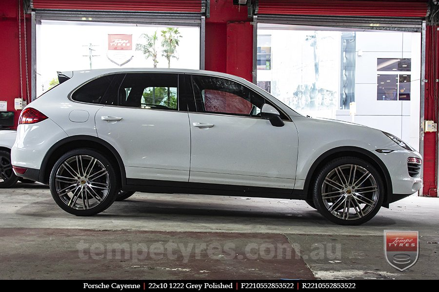 22x10 1222 Grey Polished on PORSCHE CAYENNE