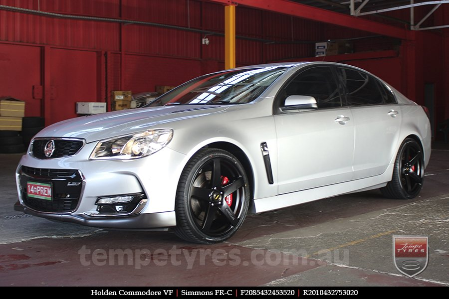 20x8.5 20x10 Simmons FR-C Satin Black NCT on HOLDEN COMMODORE VF