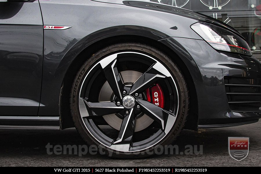 19x8.5 5627 Black Polished on VW GOLF GTI