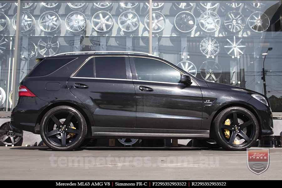 22x9.5 Simmons FR-C Full Satin Black NCT on MERCEDES ML63 AMG