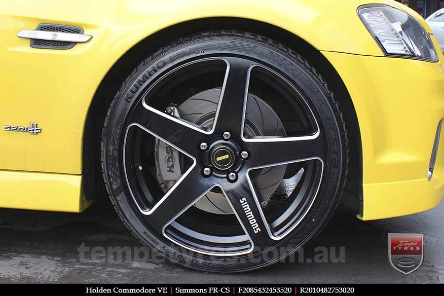 20x8.5 20x10 Simmons FR-CS Satin Black on HOLDEN COMMODORE VE