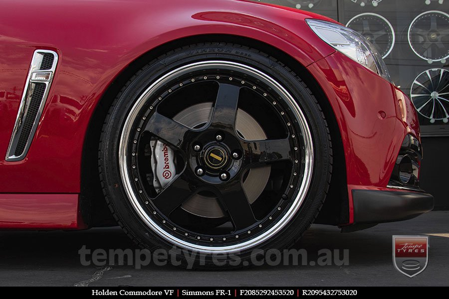 20x8.5 20x9.5 Simmons FR-1 Gloss Black on HOLDEN COMMODORE VF