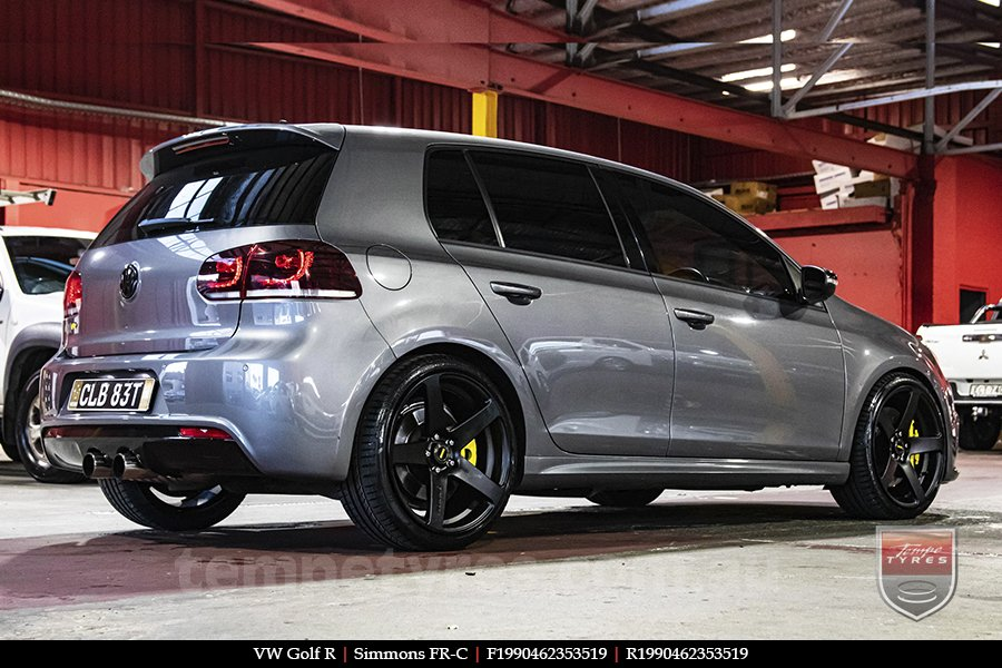 19x8.0 19x9.0 Simmons FR-C Matte Black NCT on VW GOLF R