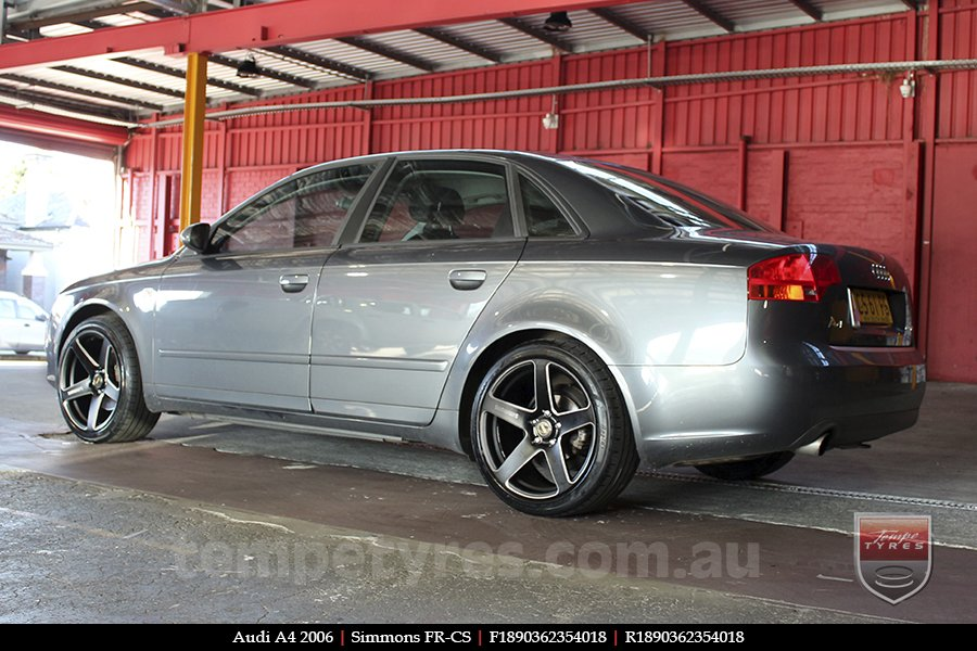 18x8.0 18x9.0 Simmons FR-CS Matte Black Chamfer Edge on AUDI A4