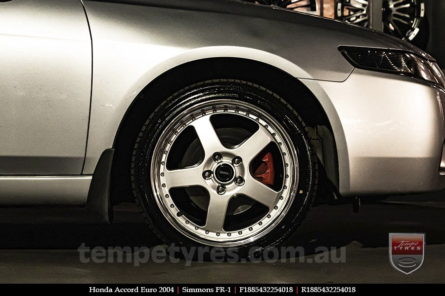 18x8.5 18x9.5 Simmons FR-1 Silver on HONDA ACCORD EURO