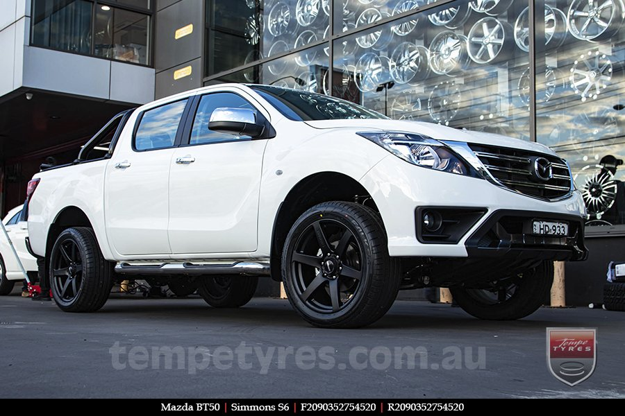 20x9.0 Simmons S6 Matte Black NCT on MAZDA BT50