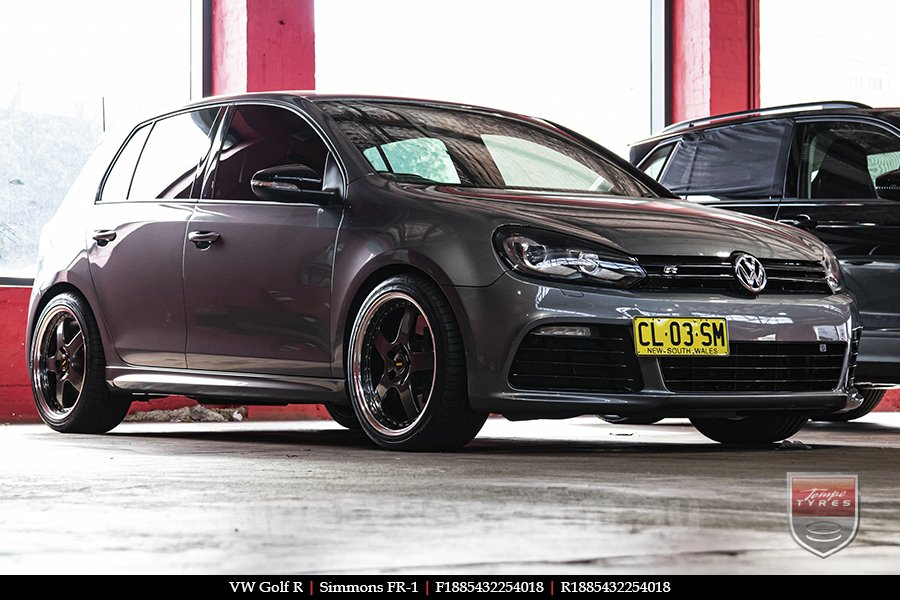 18x8.5 18x9.5 Simmons FR-1 Hyper Dark on VW GOLF R