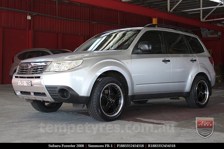 18x8.5 18x9.5 Simmons FR-1 Gloss Black on SUBARU FORESTER
