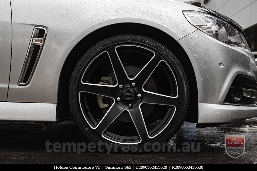 20x9.0 Simmons S6S Matte Black NCT on HOLDEN COMMODORE VF