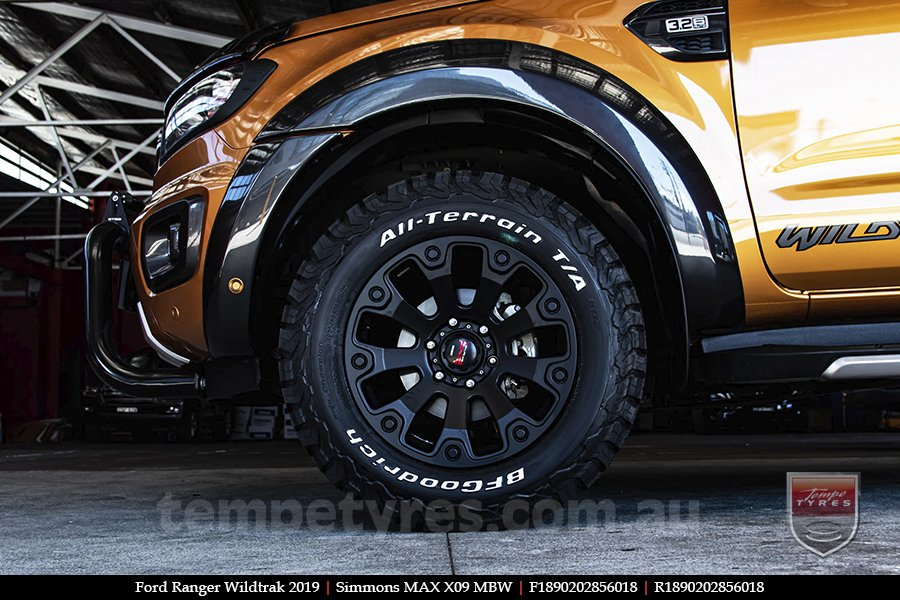 18x9.0 Simmons MAX X09 MBW on FORD RANGER WILDTRAK