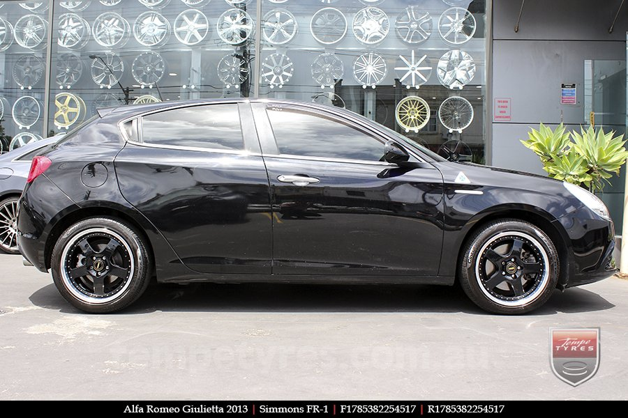 17x8.5 17x9.5 Simmons FR-1 Gloss Black on ALFA ROMEO GIULIETTA