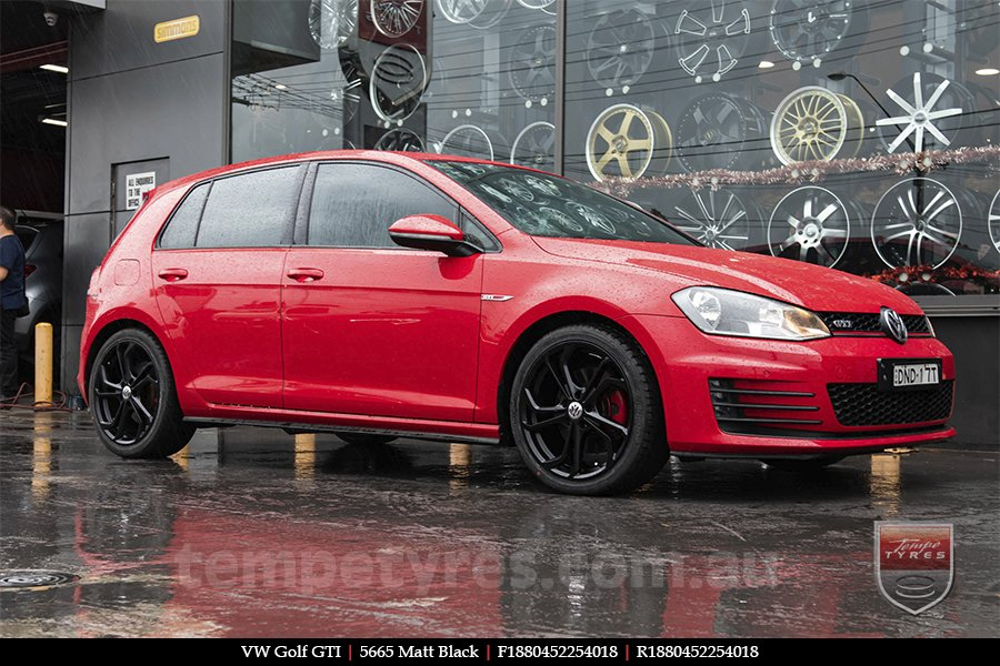 18x8.0 5665 Matt Black on VW GOLF GTI