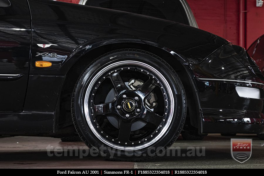18x8.5 18x9.5 Simmons FR-1 Gloss Black on FORD FALCON