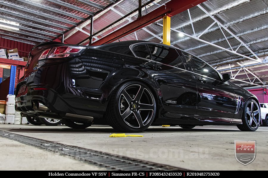 20x8.5 20x10 Simmons FR-CS Satin Black NCT  on HOLDEN COMMODORE VF