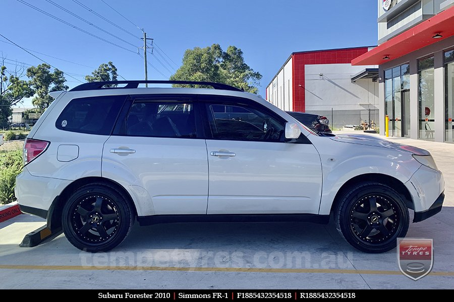 18x8.5 18x9.5 Simmons FR-1 Satin Black on SUBARU FORESTER