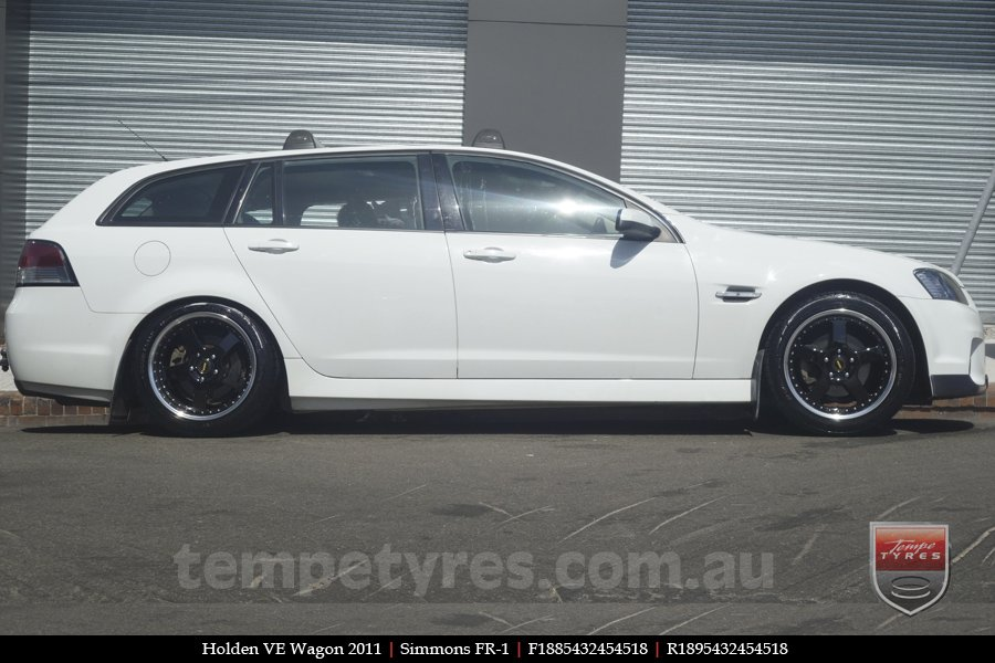 18x8.5 18x9.5 Simmons FR-1 Gloss Black on HOLDEN VE WAGON