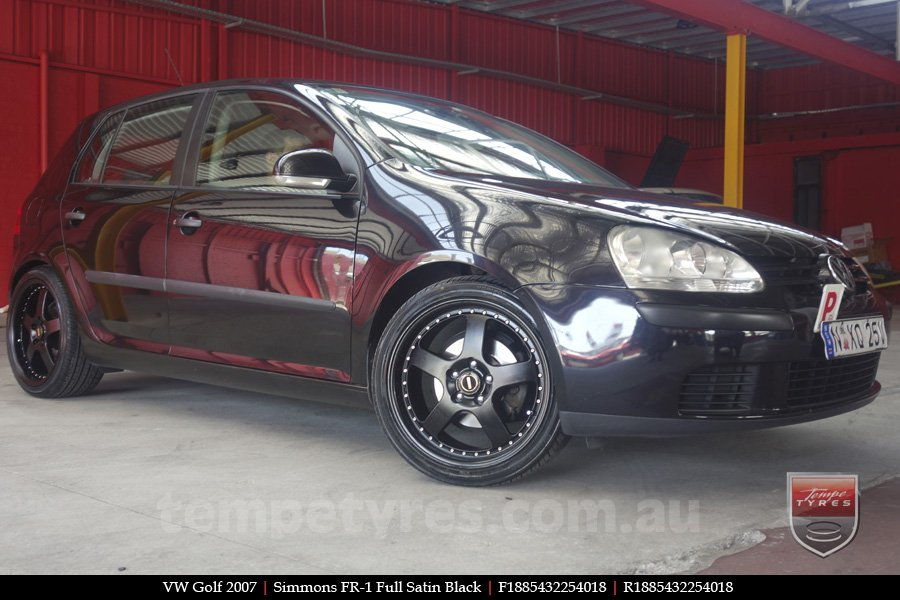 18x8.5 18x9.5 Simmons FR-1 Satin Black on VW GOLF