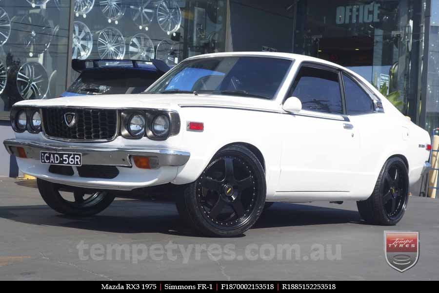 18x7.0 18x8.5 Simmons FR-1 Satin Black on MAZDA RX3