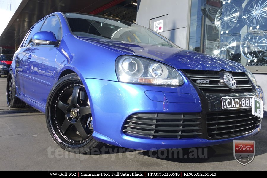 19x8.5 19x9.5 Simmons FR-1 Satin Black on VW GOLF