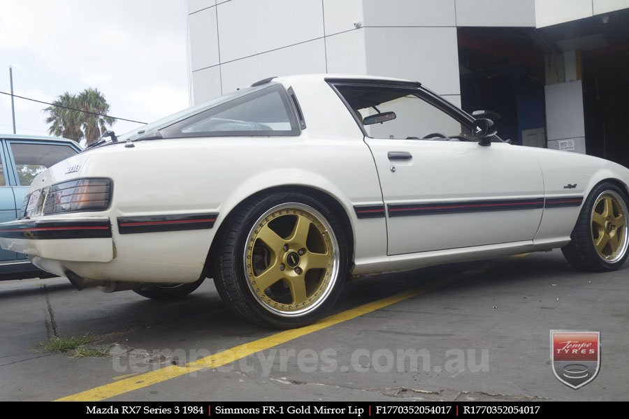 17x7.0 17x8.5 Simmons FR-1 Gold on MAZDA RX7