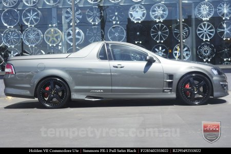 22x8.5 22x9.5 Simmons FR-1 Full Satin Black on HOLDEN COMMODORE VE
