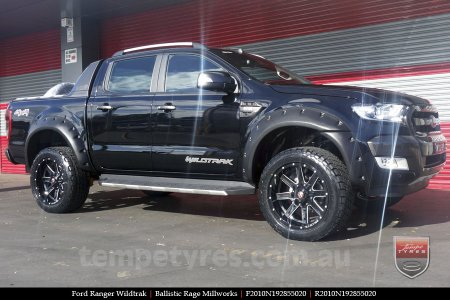 20x10 Ballistic Rage Millworks on FORD RANGER WILDTRAK