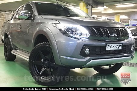 20x9.0 Simmons S6 Matte Black on MITSUBISHI TRITON