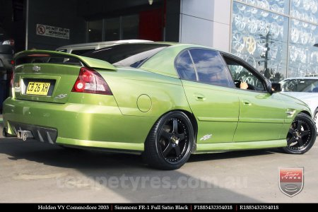18x8.5 18x9.5 Simmons FR-1 Satin Black on HOLDEN VY COMMODORE