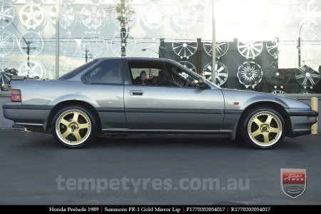 17x7.0 17x8.5 Simmons FR-1 Gold on HONDA PRELUDE