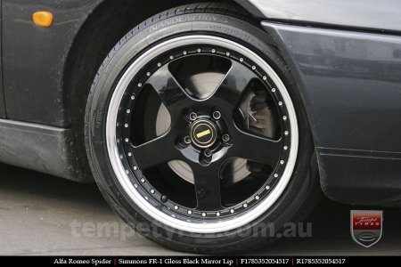 17x8.5 Simmons FR-1 Gloss Black on ALFA ROMEO SPIDER